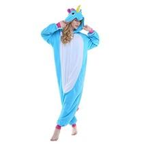 Blauw / Roze Unicorn Onesie voor volwassenen - Blauwe Unicorn Kigurumi Pyjama