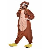 Schattige Bruine Aap Onesie voor volwassenen - Aap Kigurumi Pyjama