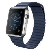 REBL PU Lederen bandje met magnetische sluiting voor Apple Watch  - Blauw