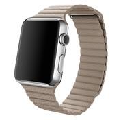 REBL PU Lederen bandje met magnetische sluiting voor Apple Watch  - Khaki