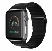 REBL PU Lederen bandje met magnetische sluiting voor Apple Watch  - Zwart