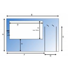 Scheidingswand met raam en deur