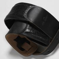 De Gier Guitars draagband deluxe zwart, extra dik gevoerd - croc style
