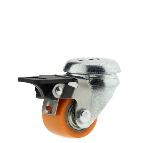 Zwenkwiel 35mm verzinkt 3PU boutgat met rem