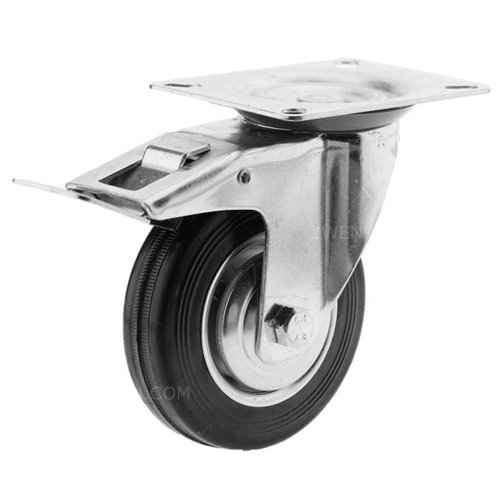 Zwenkwiel rubber 100 1SA plaat met rem