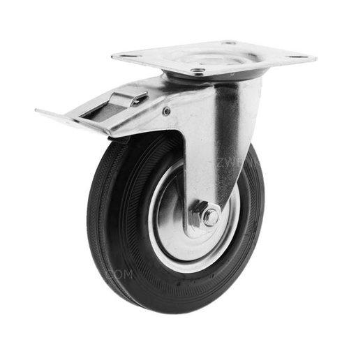 Zwenkwiel rubber 125 1SA plaat met rem