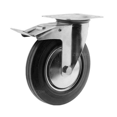 Zwenkwiel rubber 200 1SA plaat met rem