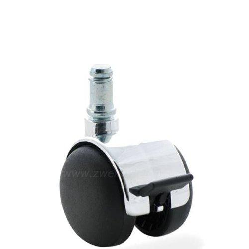PP chrome wiel 50mm stift 11mm met rem