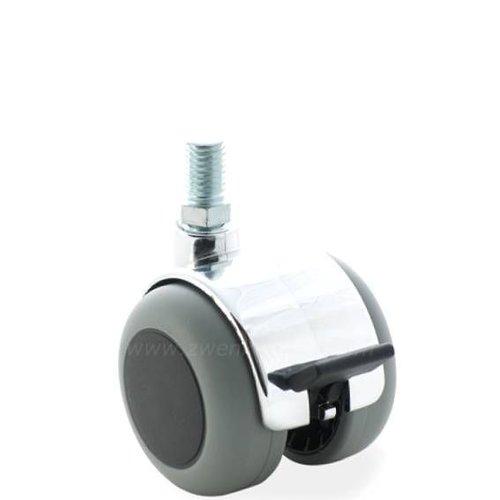 PPTP chrome wiel 50mm bout M6x12 met rem
