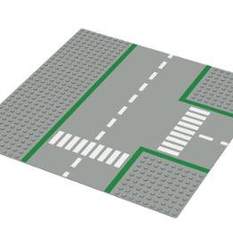 LEGO 608 Wegplaat T-SPLITSING, Lichtgrijs, 32x32,gebruikt