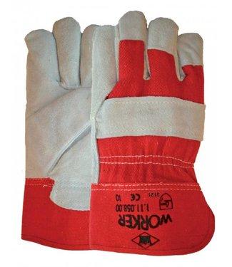 Rundsplitlederen werkhandschoenen met rode kap