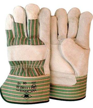 Rundsplitlederen werkhandschoenen met palmversterking