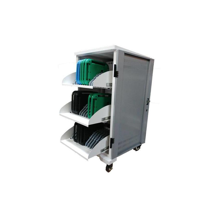 Tablet mobil Ladestation; Aufladen von 36 iPads, Tablets, Chromebooks. Abschließbare stahle Schrank auf Räder für 36 Geräte mit nur ein Steckdose aufladen-1
