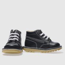 Kickers Navy Leather Hi Kick Boots