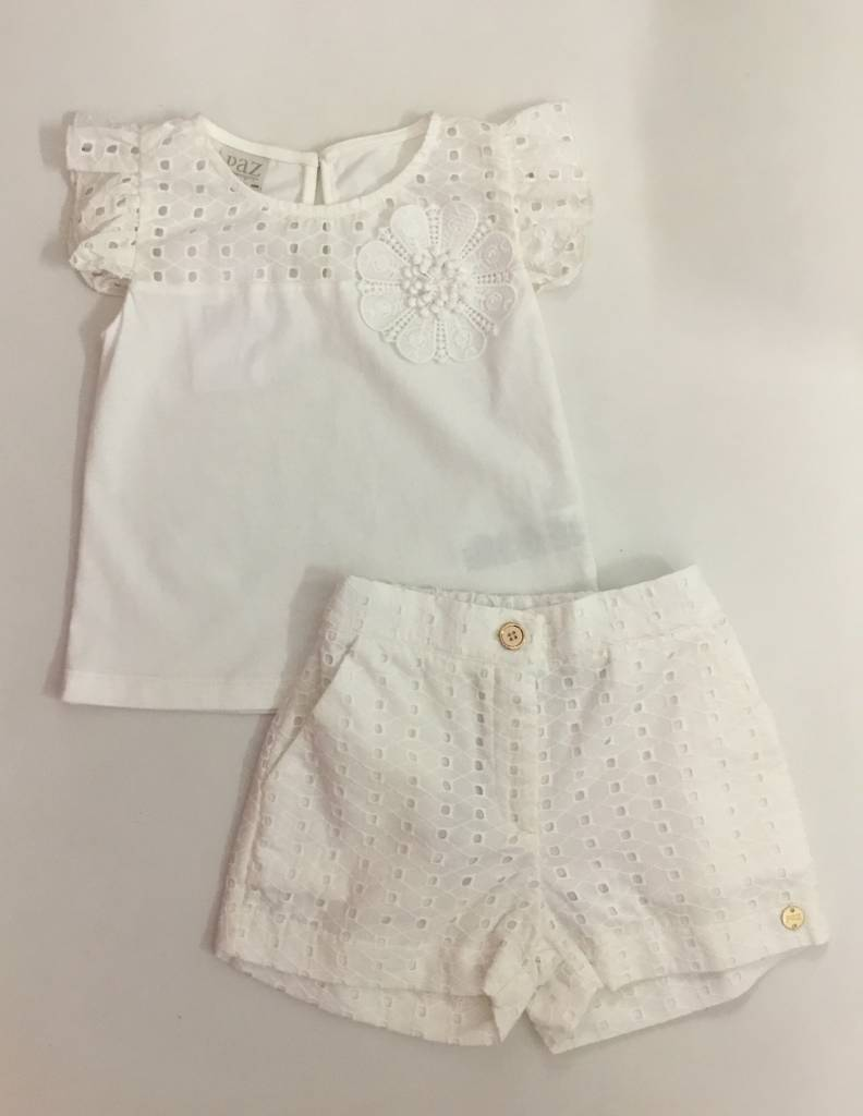 Paz PAZ Ivory Tshirt & Short Set with flower detail