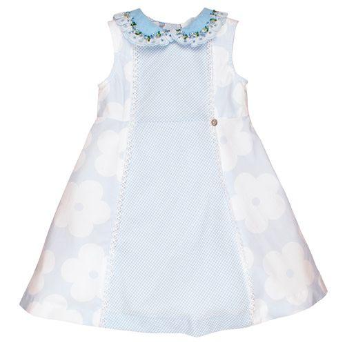 Little Darlings Little Darlings Pale Blue Gingham Detail Dress