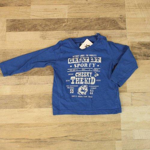 BLAUW T-SHIRTJE MET OPDRUK | BLUE SEVEN | MAAT 80