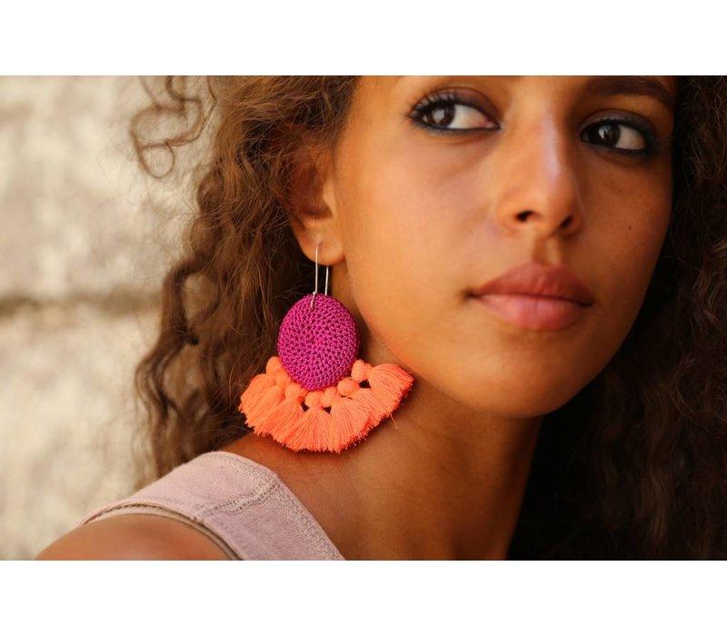 Hamimi Crochet Disc Tassel Earrings Fushia & Coral