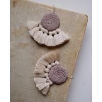 Hamimi Crochet Disc Tassel Earrings Mink & Beige