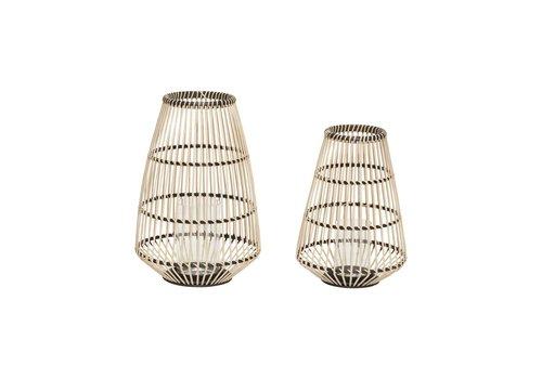 Hübsch Hübsch Lantern, round, natur/black set of 2
