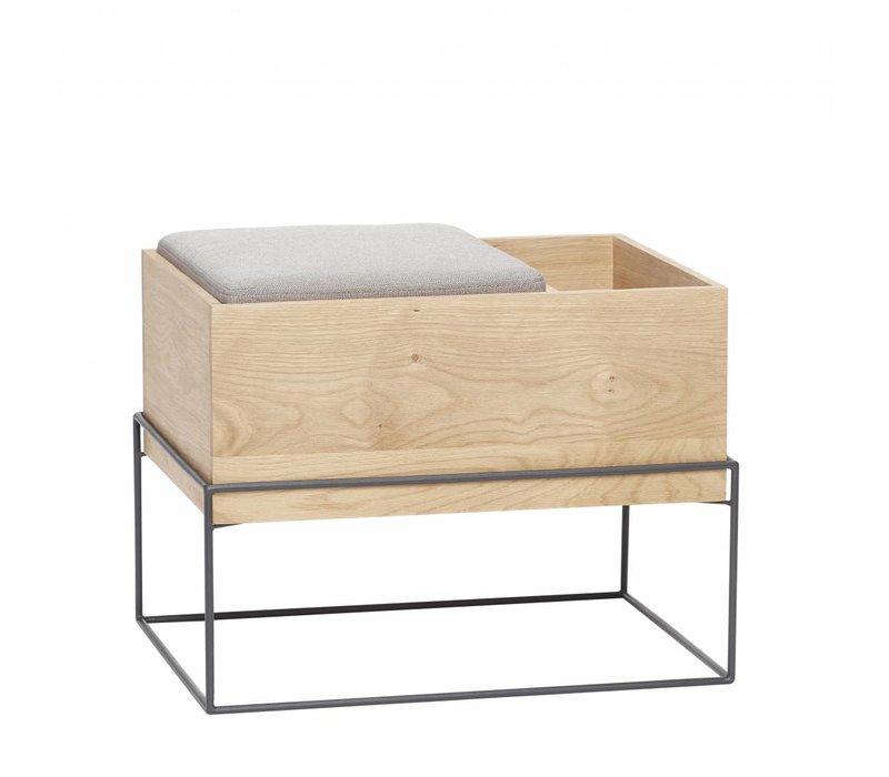 Hübsch Bench with cushion/storage, oak, nat