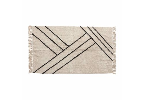 Hübsch Hübsch Rug, cotton - white/black 810601