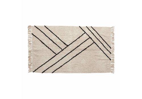 Hübsch Hübsch tapis coton écru/noir
