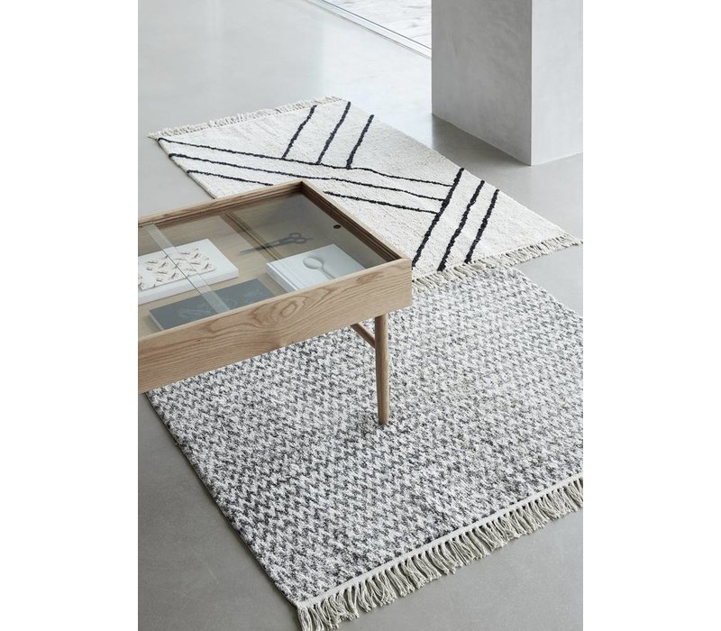 Hübsch Rug, cotton - white/black