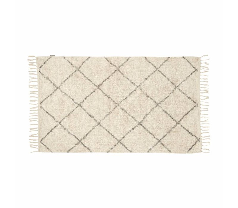Hübsch Rug, cotton - white/grey