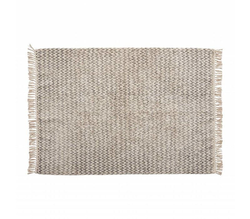 Hübsch Rug, woven, cotton, white/grey