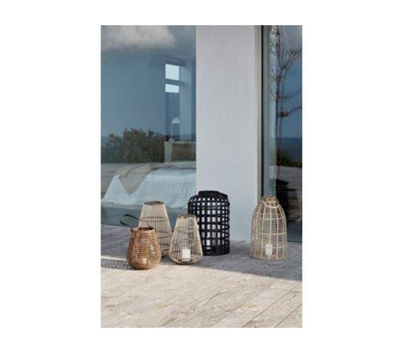 Hübsch Lantern, round, natur/black s/2