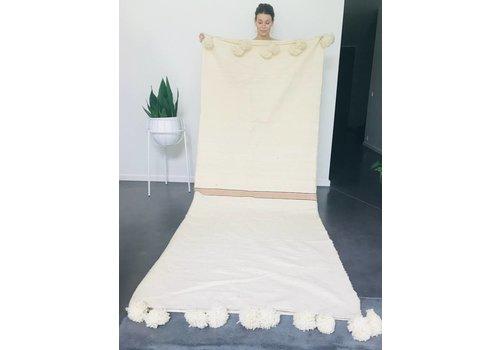 Maroc Handmade Blanket handmade ecru met streep goud 275 x 215 cm
