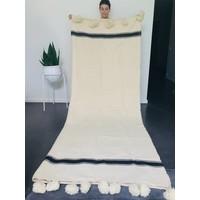 Blanket handmade off-white with black stripe