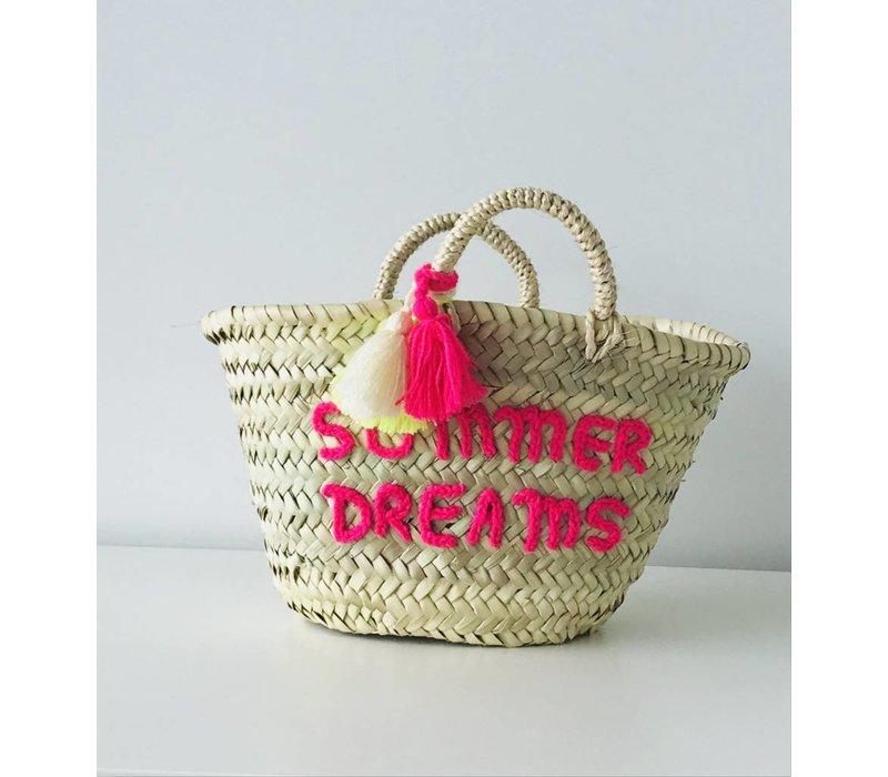 Wicker bag summer dreams fluo