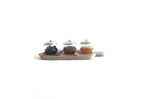 Maroc Handmade Serveerplankje walnoot met glazen potjes