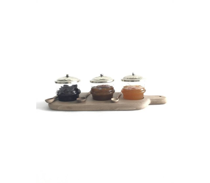 Serving board walnut with glass pots