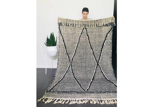 Maroc Handmade Tapijt kelim handmade zwart/wit 250 x 140 cm