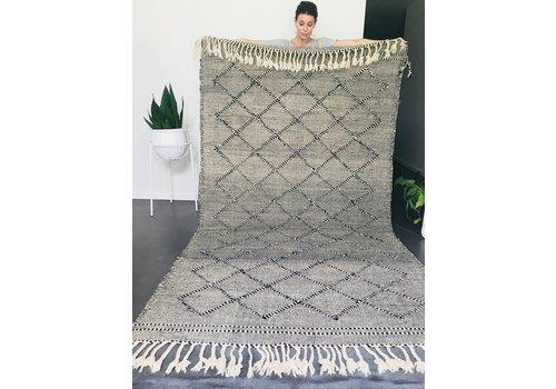 Maroc Handmade Tapijt kelim handmade zwart/wit 300 x 155 cm