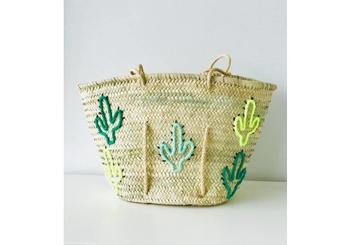 Maroc Handmade Rieten schoudertas cactus fluo