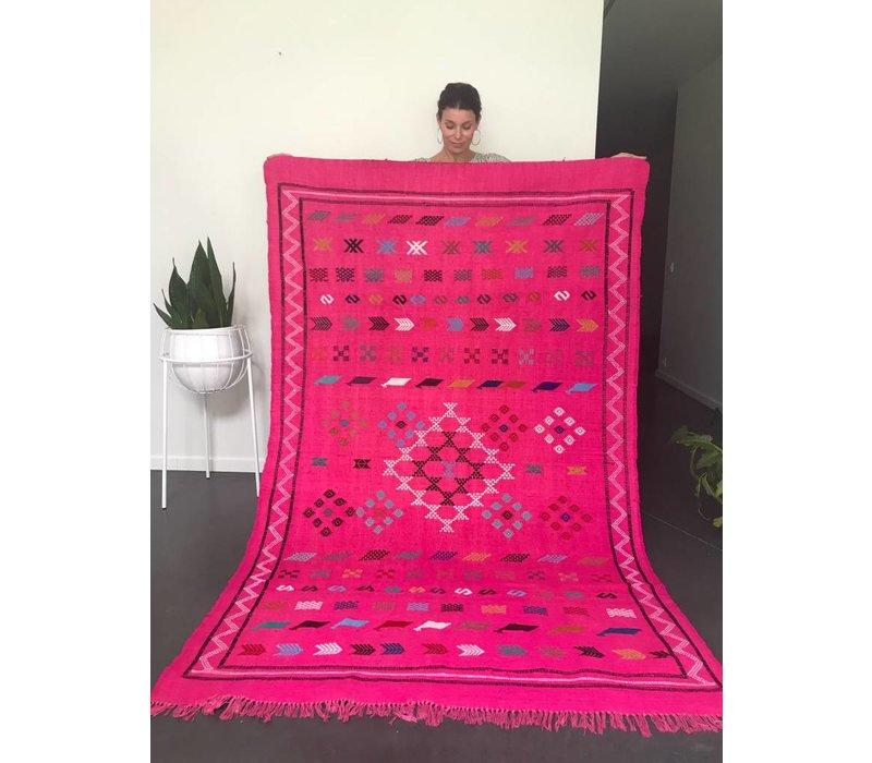 Tapijt kelim handmade fushia 230 x 140 cm