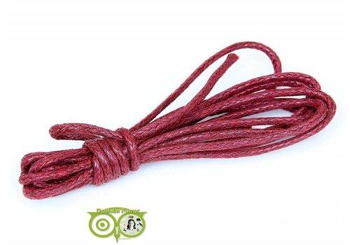 Waxkoord 1.5 mm Rood / Ruby Red 1,2 mtr