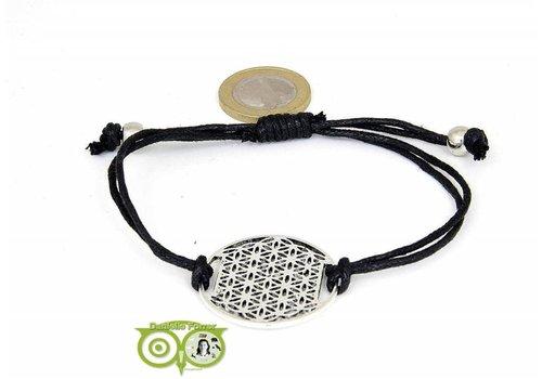 Armbandje: Flower of Life aan koordje (zwart)