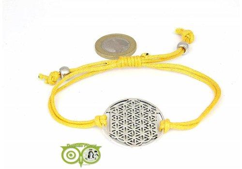 Armbandje: Flower of Life aan koordje (geel)