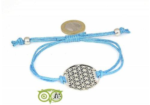 Armbandje: Flower of Life aan koordje (lichtblauw)