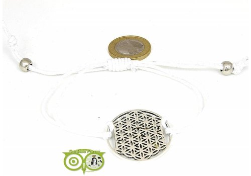 Armbandje: Flower of Life aan koordje (wit)