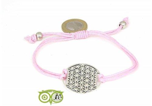 Armbandje: Flower of Life aan koordje (roze)