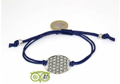 Armbandje: Flower of Life aan koordje (donkerblauw)