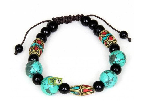 Armband turkoois koraal & zwarte onyx