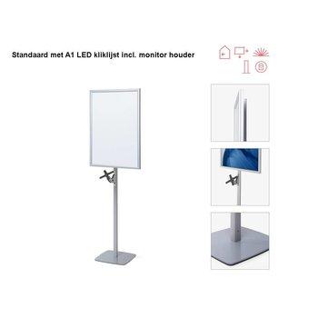 Standaard met A1 LED kliklijst+monitor houder