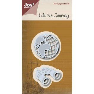 Joy!Crafts Snij-embosstencil - Wererdbol + verrekijker